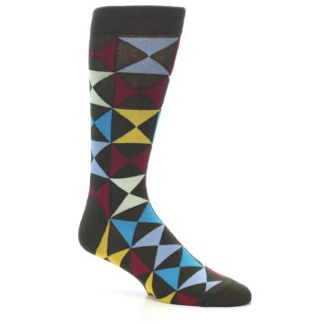 Image of Brown Multi-Color Triangles Men's Dress Socks (side-1-26)