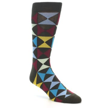 Image of Brown Multi-Color Triangles Men's Dress Socks (side-1-27)