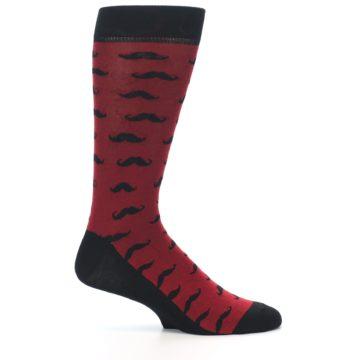 Image of Red Black Mustache Men's Dress Socks (side-1-25)