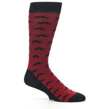 Image of Red Black Mustache Men's Dress Socks (side-1-26)
