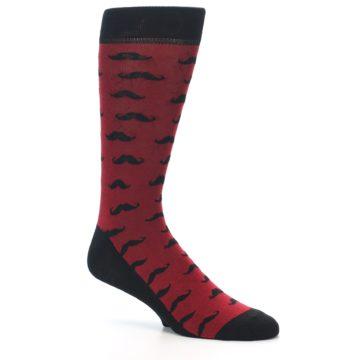 Image of Red Black Mustache Men's Dress Socks (side-1-27)