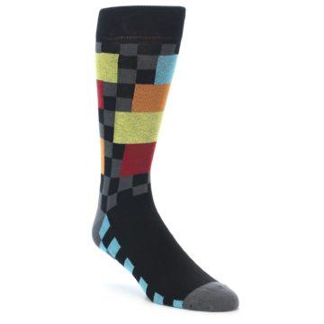Image of Grey Black Multi-Color Checkered Men's Dress Socks (side-1-front-01)