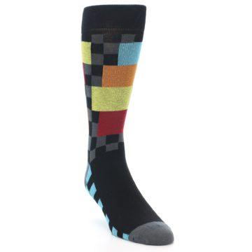 Image of Grey Black Multi-Color Checkered Men's Dress Socks (side-1-front-02)