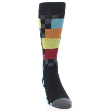 Image of Grey Black Multi-Color Checkered Men's Dress Socks (side-1-front-03)