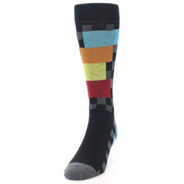 Image of Grey Black Multi-Color Checkered Men's Dress Socks (side-2-front-06)