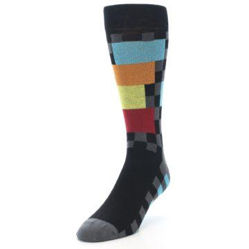 Image of Grey Black Multi-Color Checkered Men's Dress Socks (side-2-front-07)