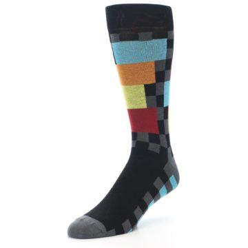 Image of Grey Black Multi-Color Checkered Men's Dress Socks (side-2-front-08)