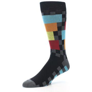 Image of Grey Black Multi-Color Checkered Men's Dress Socks (side-2-09)