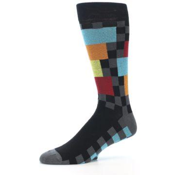 Image of Grey Black Multi-Color Checkered Men's Dress Socks (side-2-10)