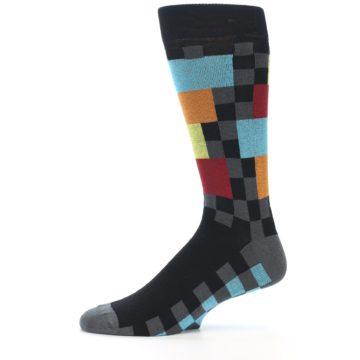 Image of Grey Black Multi-Color Checkered Men's Dress Socks (side-2-11)