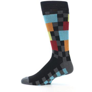 Image of Grey Black Multi-Color Checkered Men's Dress Socks (side-2-12)
