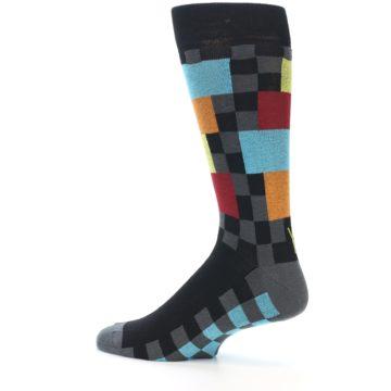 Image of Grey Black Multi-Color Checkered Men's Dress Socks (side-2-13)