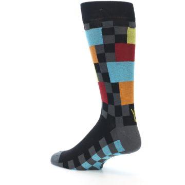 Image of Grey Black Multi-Color Checkered Men's Dress Socks (side-2-back-14)