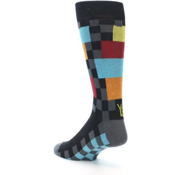 Image of Grey Black Multi-Color Checkered Men's Dress Socks (side-2-back-15)
