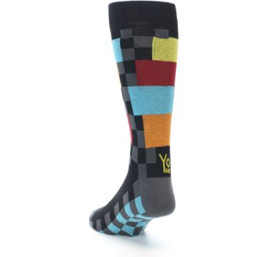 Image of Grey Black Multi-Color Checkered Men's Dress Socks (side-2-back-16)