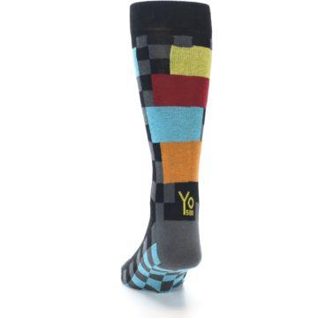 Image of Grey Black Multi-Color Checkered Men's Dress Socks (back-17)
