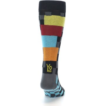 Image of Grey Black Multi-Color Checkered Men's Dress Socks (back-19)