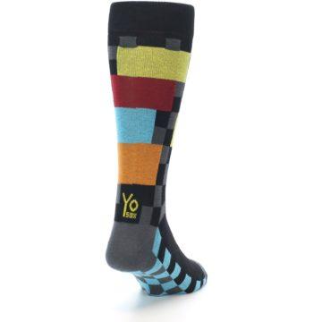 Image of Grey Black Multi-Color Checkered Men's Dress Socks (side-1-back-20)