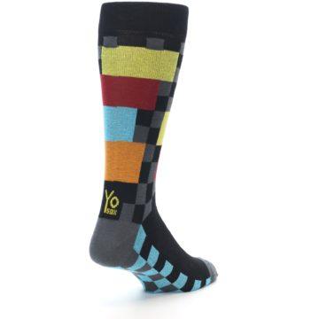 Image of Grey Black Multi-Color Checkered Men's Dress Socks (side-1-back-21)
