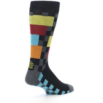 Image of Grey Black Multi-Color Checkered Men's Dress Socks (side-1-back-22)