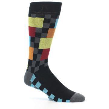 Image of Grey Black Multi-Color Checkered Men's Dress Socks (side-1-26)