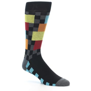 Image of Grey Black Multi-Color Checkered Men's Dress Socks (side-1-27)