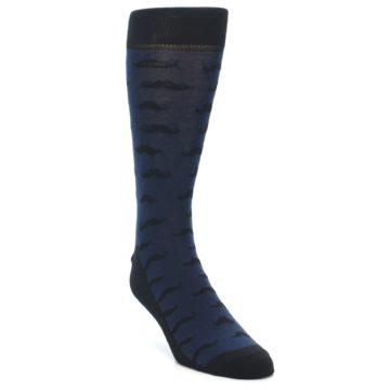 Image of Navy Black Mustache Men's Dress Socks (side-1-front-02)