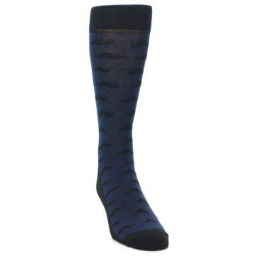 Image of Navy Black Mustache Men's Dress Socks (side-1-front-03)