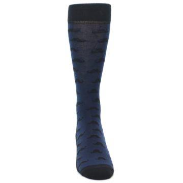 Image of Navy Black Mustache Men's Dress Socks (front-04)