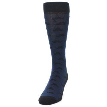 Image of Navy Black Mustache Men's Dress Socks (side-2-front-06)