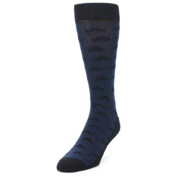 Image of Navy Black Mustache Men's Dress Socks (side-2-front-07)