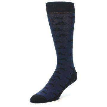 Image of Navy Black Mustache Men's Dress Socks (side-2-front-08)