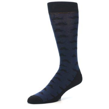 Image of Navy Black Mustache Men's Dress Socks (side-2-09)