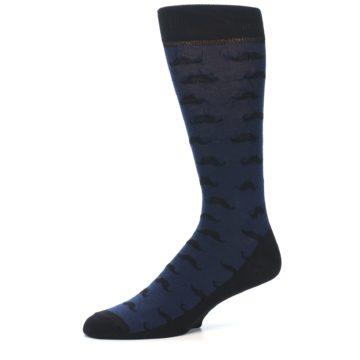 Image of Navy Black Mustache Men's Dress Socks (side-2-10)