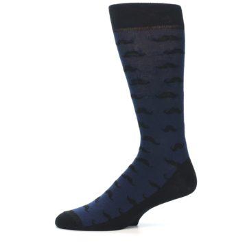 Image of Navy Black Mustache Men's Dress Socks (side-2-11)