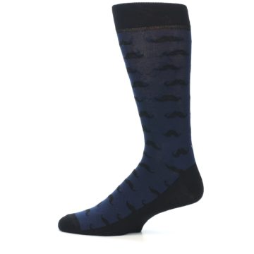 Image of Navy Black Mustache Men's Dress Socks (side-2-12)