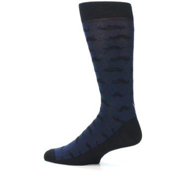Image of Navy Black Mustache Men's Dress Socks (side-2-13)