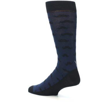 Image of Navy Black Mustache Men's Dress Socks (side-2-back-14)