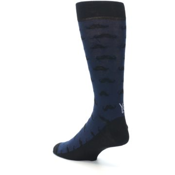 Image of Navy Black Mustache Men's Dress Socks (side-2-back-15)