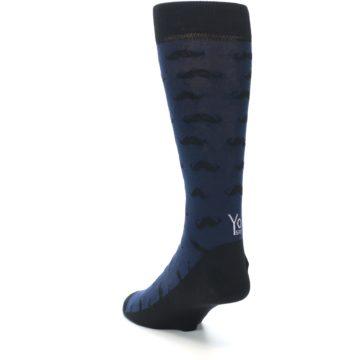 Image of Navy Black Mustache Men's Dress Socks (side-2-back-16)