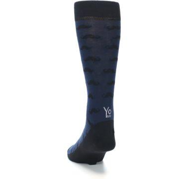 Image of Navy Black Mustache Men's Dress Socks (back-17)