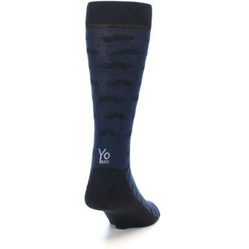 Image of Navy Black Mustache Men's Dress Socks (side-1-back-20)