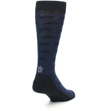 Image of Navy Black Mustache Men's Dress Socks (side-1-back-21)