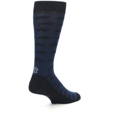 Image of Navy Black Mustache Men's Dress Socks (side-1-back-22)