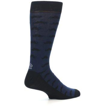 Image of Navy Black Mustache Men's Dress Socks (side-1-23)