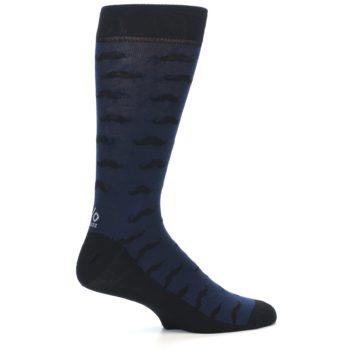 Image of Navy Black Mustache Men's Dress Socks (side-1-24)