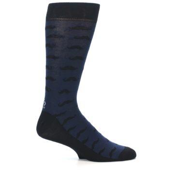 Image of Navy Black Mustache Men's Dress Socks (side-1-25)