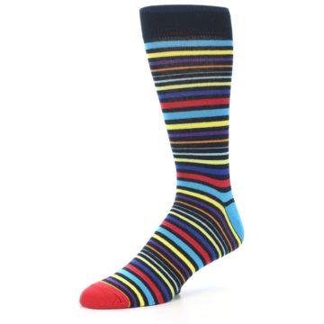 Image of Black Multi-Color Stripes Men's Dress Socks (side-2-09)