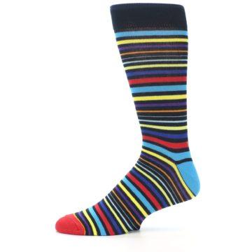 Image of Black Multi-Color Stripes Men's Dress Socks (side-2-11)