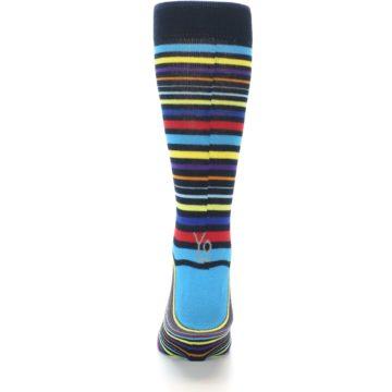 Image of Black Multi-Color Stripes Men's Dress Socks (back-18)